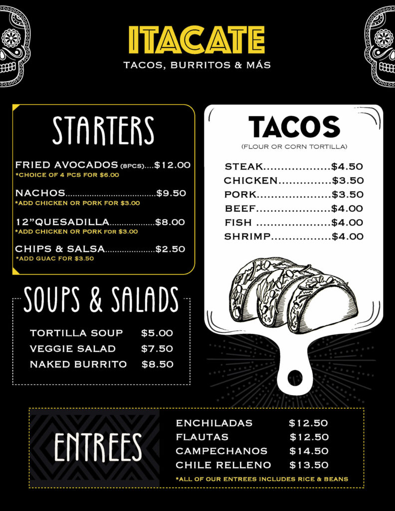 ITACATE CHILI Menu page 1
