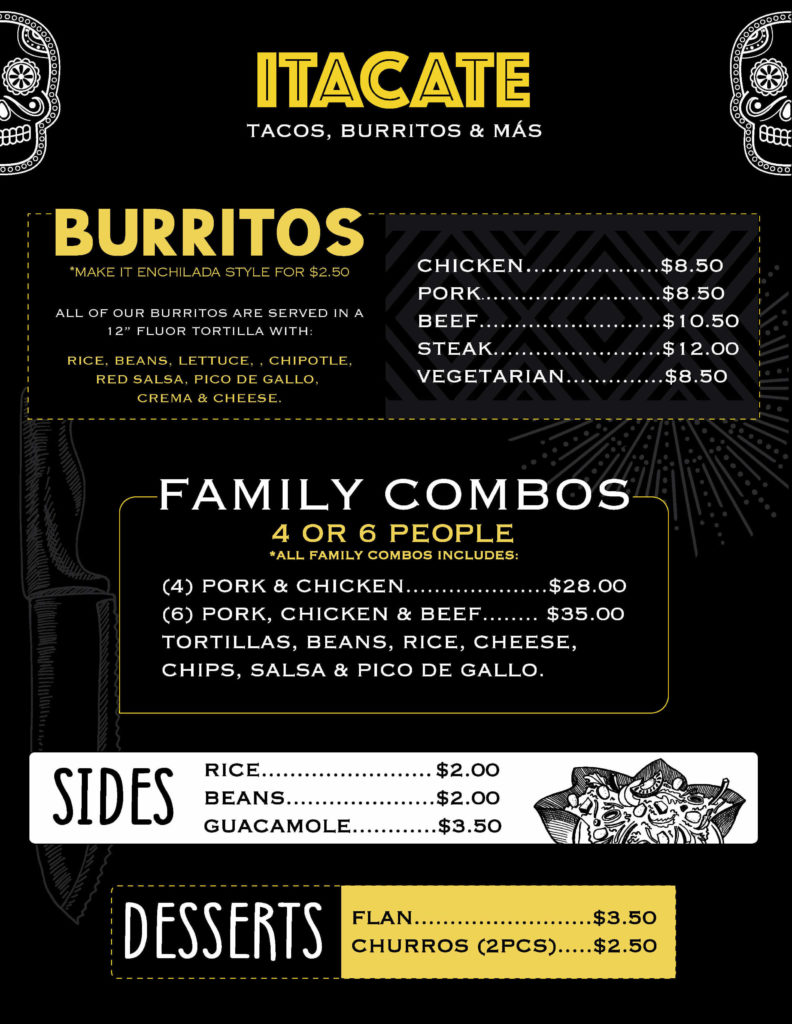 ITACATE CHILI Menu page 2