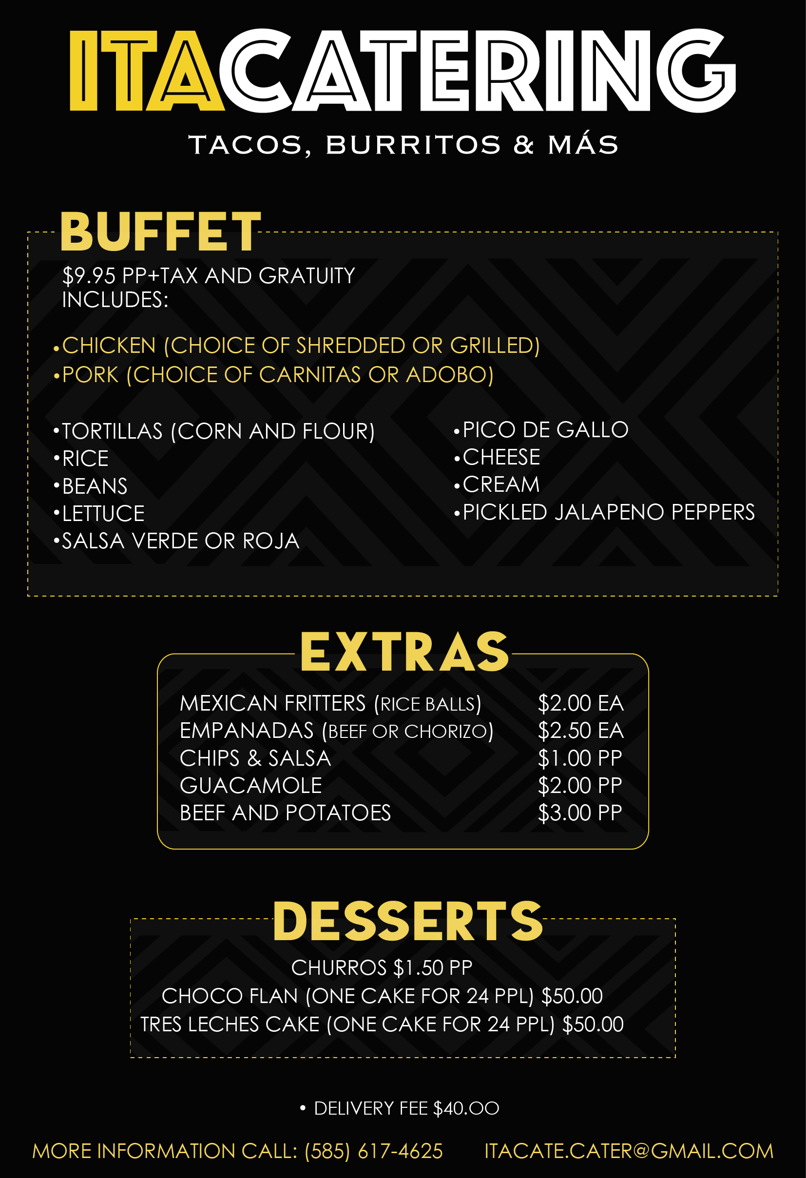 Mexican Buffet Catering Menu ITACATE